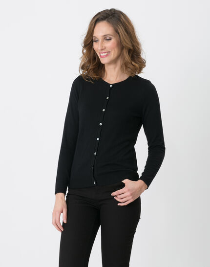 Happiness black cardigan with round collar (6) - 1-2-3