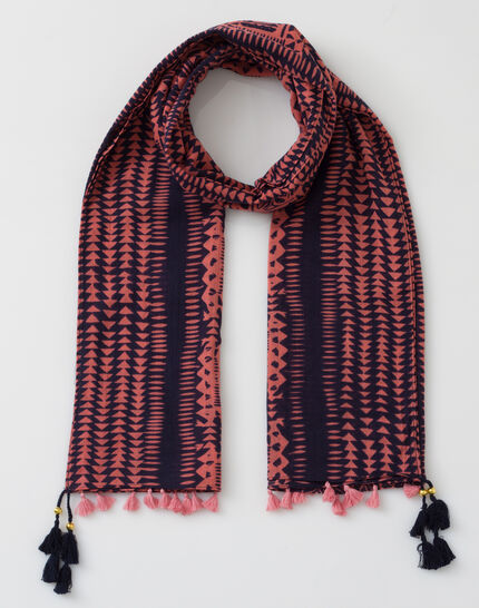 Salvatore coral cotton printed scarf (2) - 1-2-3