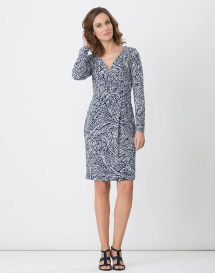 Bermude printed navy blue dress PhotoZ   1-2-3