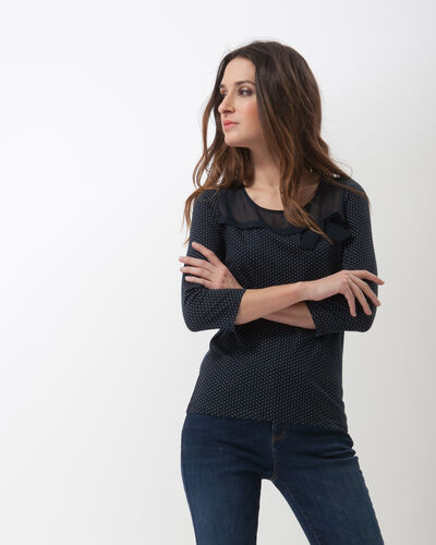 Tee-shirt bleu marine à pois Louisa (1) - 1-2-3