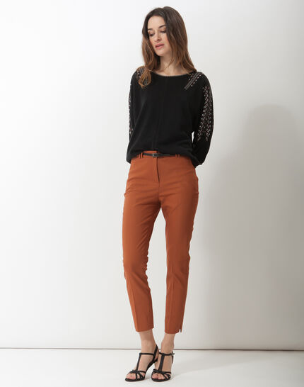Pauline smart brown trousers with belt (2) - 1-2-3
