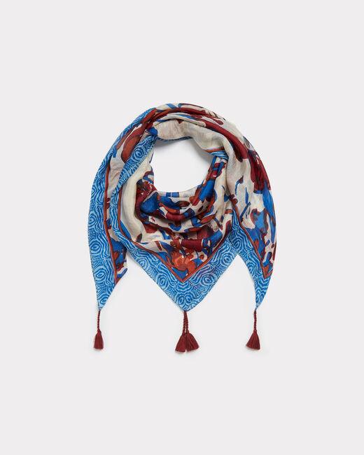 Elga royal blue silk printed scarf (2) - 1-2-3