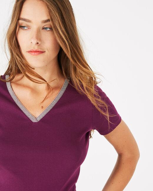 Neck blackcurrant T-Shirt with diamanté neckline (2) - 1-2-3
