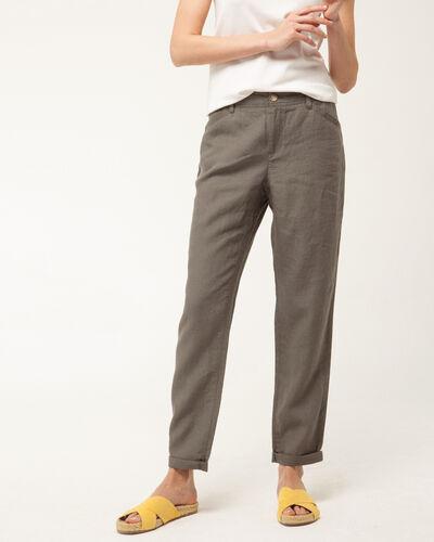 Pantalon chino kaki en lin Dorian (1) - 1-2-3