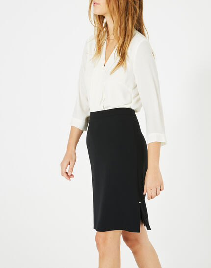 Fanfare straight-cut black tailored skirt (3) - 1-2-3