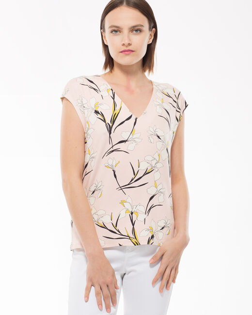Tee-shirt rose imprimé lys Nature (1) - 1-2-3