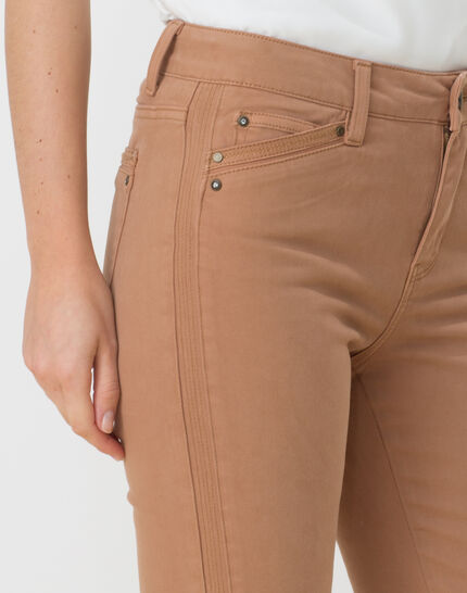 Pia camel 7/8 length satin trousers (4) - 1-2-3