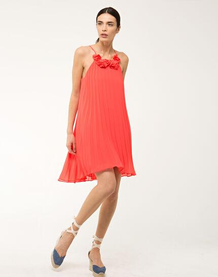 Fidele orange pleated dress (2) - 1-2-3