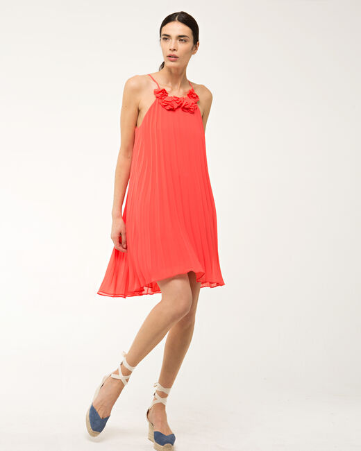 Fidele orange pleated dress (1) - 1-2-3