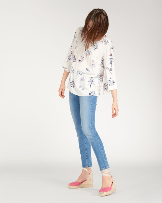 Echo ecru blouse with floral print (2) - 1-2-3