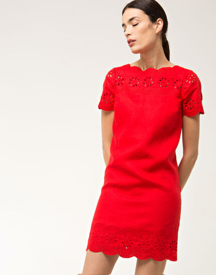 Ballade red embroidered dress in linen PhotoZ | 1-2-3
