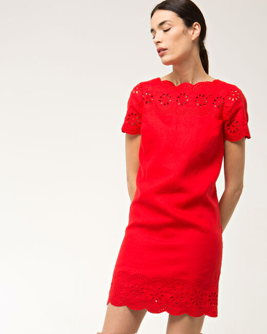 Ballade red embroidered dress in linen (2) - 1-2-3