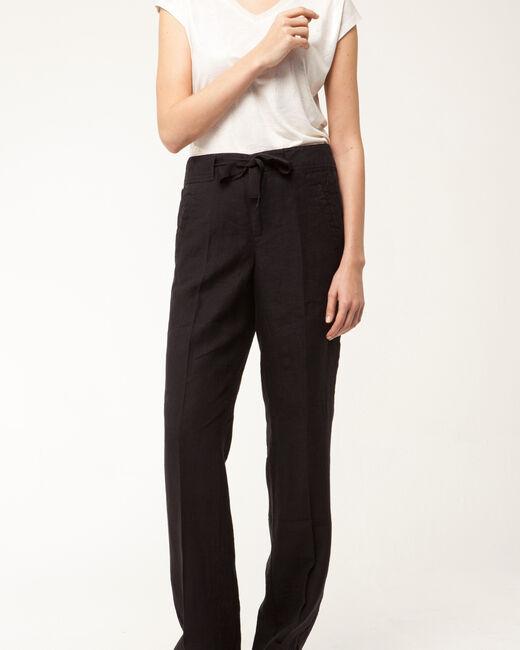 Dolly wide-cut black linen trousers   (2) - 1-2-3
