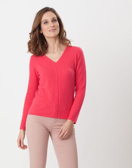 Heart fuchsia cashmere sweater PhotoZ   1-2-3