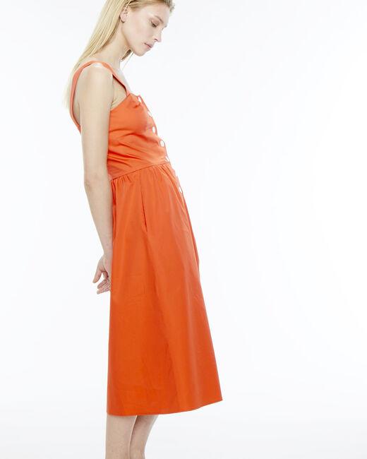 Robe orangée boutonnée en coton Becky (2) - 1-2-3