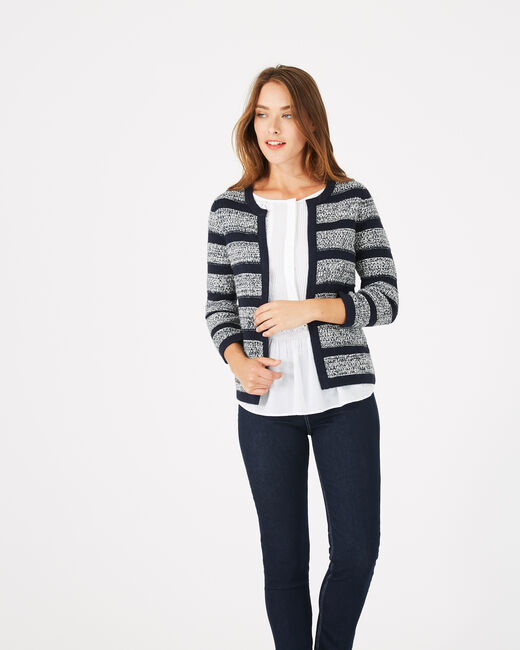 Marineblaue Strickjacke Paparazzi (2) - 1-2-3