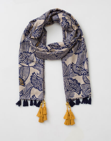 Stacy floral indigo printed scarf (2) - 1-2-3