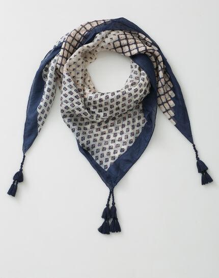 Sam navy blue printed scarf in silk (2) - 1-2-3
