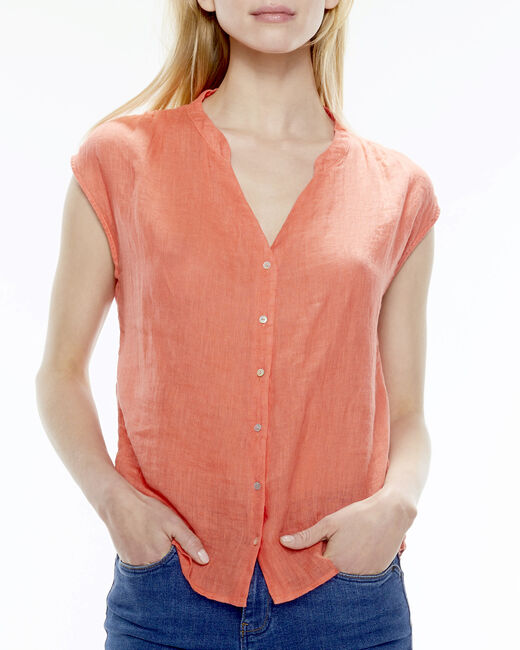 Fiona orange linen blouse (1) - 1-2-3