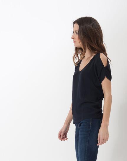 Tee-shirt bleu marine épaules dénudées Nymphe (3) - 1-2-3