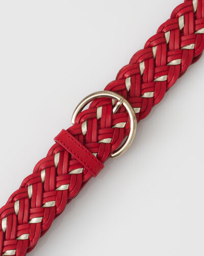 Yoni red braided leather belt (2) - 1-2-3