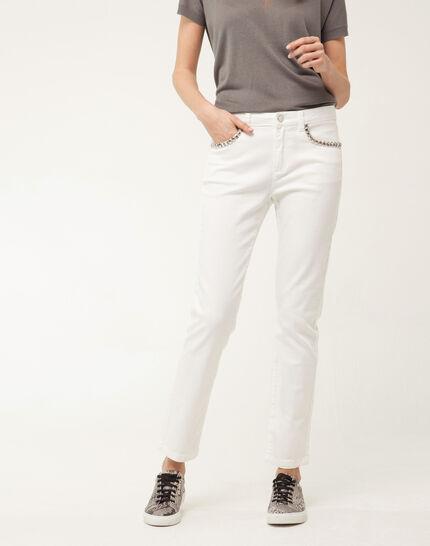 Inès 7/8 length studded white jeans PhotoZ | 1-2-3