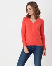 Heart orangey cashmere sweater coral.