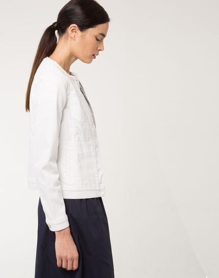 Uma white denim jacket with braided collar (5) - 1-2-3