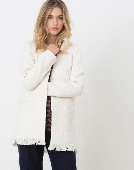 Quamille white coat with fringing PhotoZ | 1-2-3