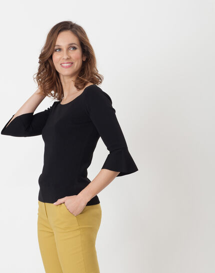 Hesmerelda black sweater with flared sleeves (4) - 1-2-3