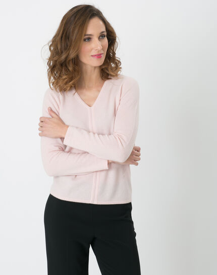 Heart pale pink cashmere sweater PhotoZ | 1-2-3