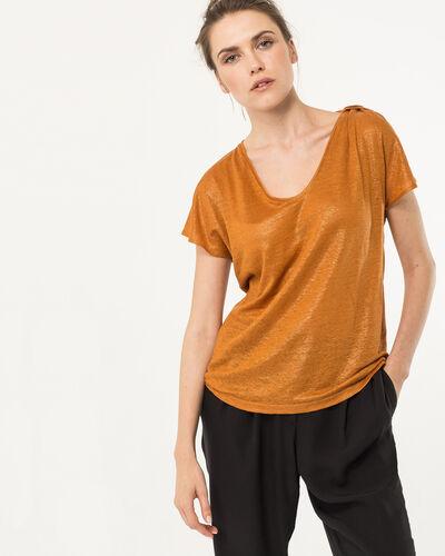 Tee-shirt ocre en lin Nuba (1) - 1-2-3