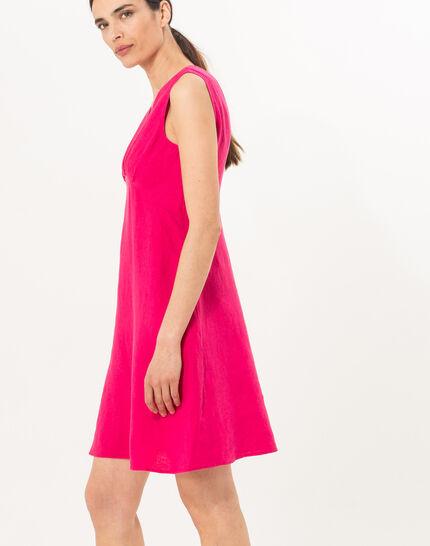 Bonbon fuchsia linen dress (4) - 1-2-3