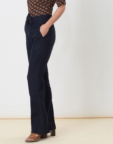 Dolly wide-cut navy blue linen trousers (3) - 1-2-3