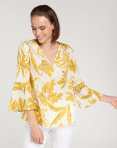Elvina yellow printed blouse lemon.
