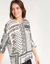 Enjoy bis printed black and white blouse black/white.