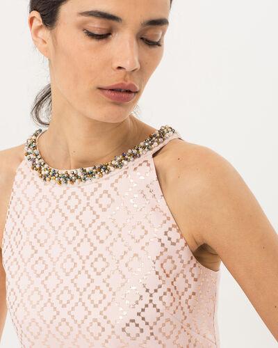Robe rose jacquard avec col bijou Forever (2) - 1-2-3