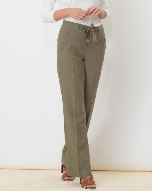 Pantalon large kaki en lin Dolly (2) - 1-2-3