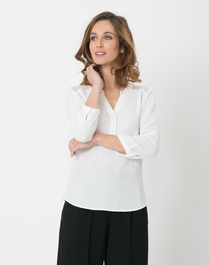 Edita ecru shirt with lace (5) - 1-2-3
