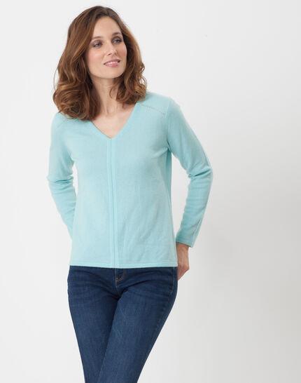 Heart turquoise cashmere sweater PhotoZ | 1-2-3