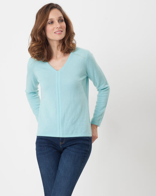Heart turquoise cashmere sweater (1) - 1-2-3