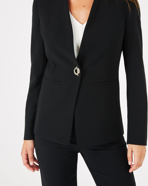 Majeste black mid-length tailored jacket (1) - 1-2-3