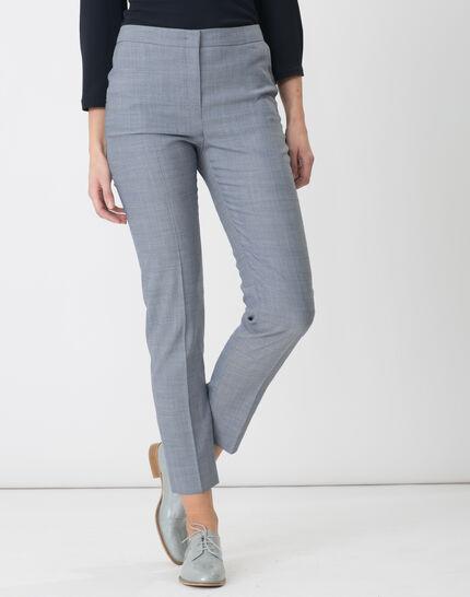 Ruban decorative navy blue jacquard tailored trousers PhotoZ | 1-2-3