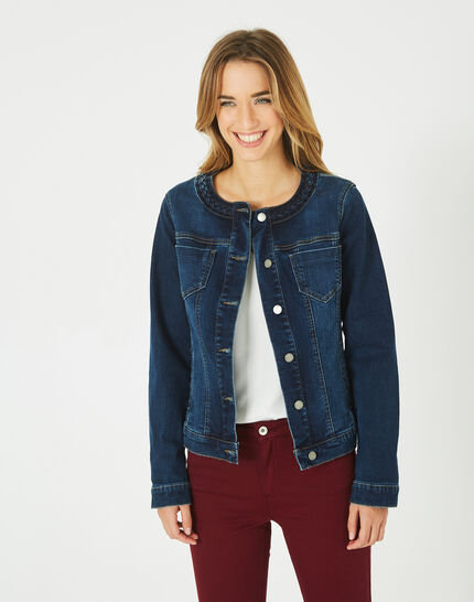 Veste en jean col tressé Uma (2) - 1-2-3