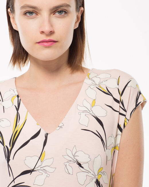 Nature pink T-shirt with a lily print (1) - 1-2-3