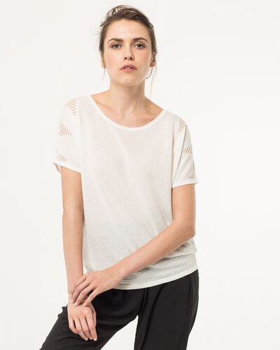 Hexagone white sweater with 3/4 length sleeves (1) - 1-2-3