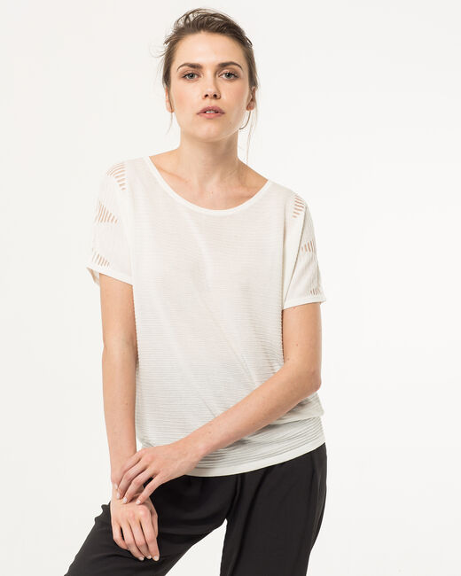 Pull blanc manches 3/4 Hexagone (2) - 1-2-3