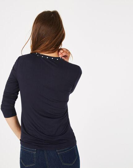 Tee-shirt bleu marine à pois Leden (5) - 1-2-3