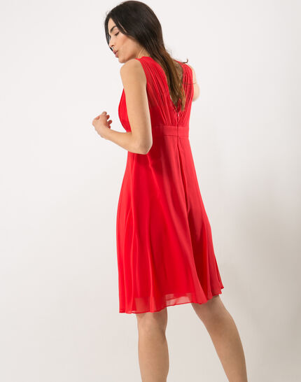 Loulou red dress in silk (4) - 1-2-3