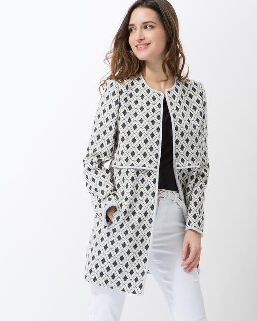 Manteau imprimé graphique à franges Quôme (2) - 1-2-3